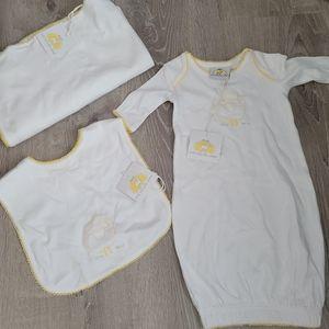 New 3pcs newborn gender neutral gift gown blanket